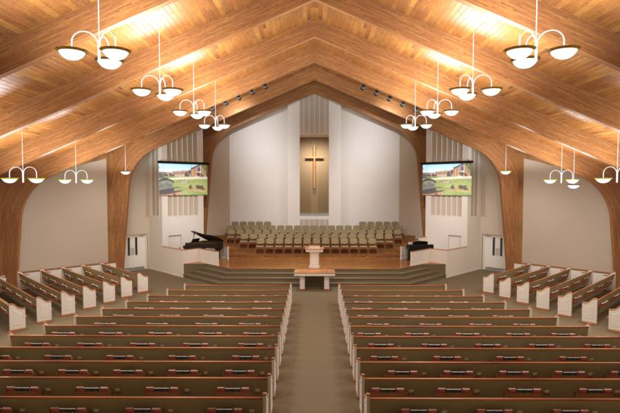 Church lighting small sanctuary joy studio design for Church interior designs pictures