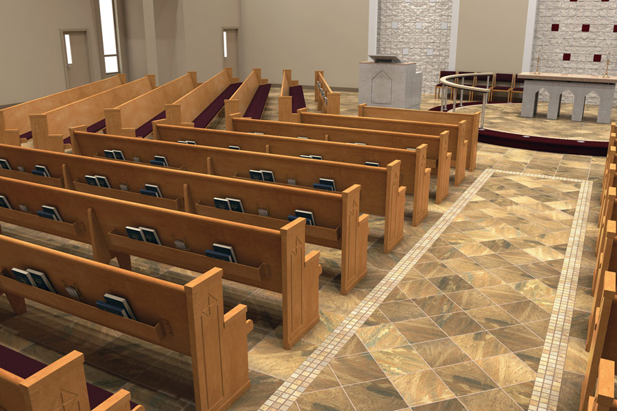 Church Hardwood Porcelain Tile Flooring