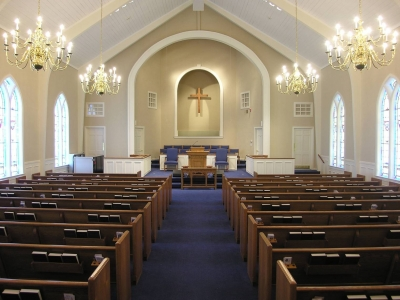 Baptist church renovation pews choir chairs flooring for Church interior designs pictures