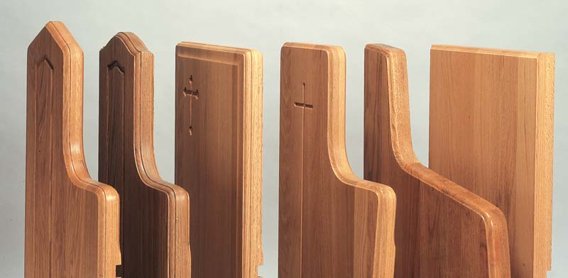 Edge molding options for pew ends.